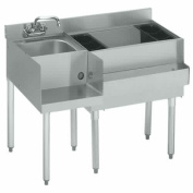 Krowne Metal 18-W54R-7 Ice Bin/Cocktail Unit with Blender Station 7 Circuit Cold Plate 54 Length x 22-1/2 Front to Back 36 Ice Bin on Right with Bottle Rack 50kg Standard 1800 Series