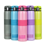 UZSPACE 480 ml Insulated Stainless Steel Vacuum Cup Water Bottle Thermos Flask for Hiking Camping Travelling Climbing Outdoor Winter Sports Kitchen Home Flip Cap Non-slip Wide Spout BPA-Free Pink