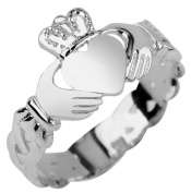 14K White Gold Ladies Claddagh Ring with Trinity Band