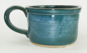 Aunt Chris' Pottery - Hand Made Clay - Large Soup Bowl - Blue Green Glazed Coloured - With Sturdy Loop Handle - You Can Spoon It Out - Drink It Right Of The Bowl