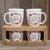 """Natural Life """"Cup of Happy"""" Set of Two Mugs"""