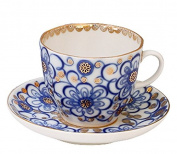 Lomonosov Porcelain Tulip Espresso Cup and Saucer Set Bindweed 4.7 fl.oz/140 ml