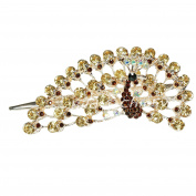 Beautiful Rhinestone Peacock Hair Clip from Metal & Acryl Barrette Hair Clip Champagne and Brown Gold 5257
