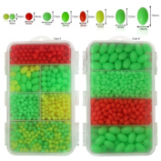 Shaddock Fishing ® 1000pcs/box Multi Coloured Hard Plastic Oval Shaped Fishing Beads Carp Fishing Tackle Tools Eggs for Rigs, Sea, Boat and Beach Fishing