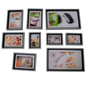Home Decoration Photo Wall 9 frame photo black and white green wood wall -w2 WF