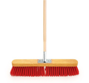 46cm Wide Heavy Duty Stiff PVC Sweeping Brush Equestrian Yard Broom Fitted with Metal Bracket and Supplied with Wooden Handle