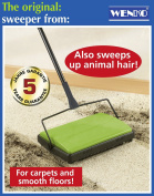 WENKO LIGHTWEIGHT CARPET & HARD FLOOR SWEEPER PET HAIR .  UK