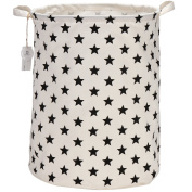 Sea Team 50cm Large Sized Waterproof Coating Ramie Cotton Fabric Folding Laundry Hamper Bucket Cylindric Burlap Canvas Storage Basket with Stylish Black Stars Design