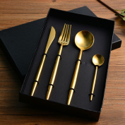 Elome Flatware Set, Stainless Steel Cutlery set, Vintage Design Cutlery for Home Kitchen Restaurant Hotel Gold in Gift Box