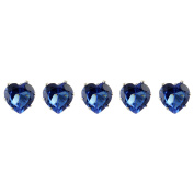 Jewellery of Lords Five 10x10mm Dark Blue Heart Crystal Silver Plated Hair Pin Wedding Bridal Bride Prom Bobby by Jewellery of Lords