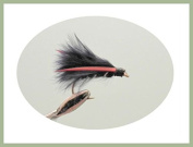 6 Pack of Black Mini Cormorant Trout Fishing Flies, Size 10
