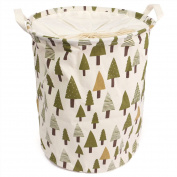 Qearly Foldable Double Handles Laundry Hamper Pop Up Storage Hamper Laundry Basket Laundry Bin For Dirty Clothes With Cover-Tree