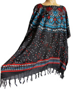 Ladies BLACK with abstract PRINT fringed Kaftan Poncho Tunic beach large plus size