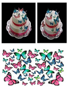 43 BUTTERFLIES Pink Blue Turquoise DIY Edible Cup cake Toppers MIXED SIZE