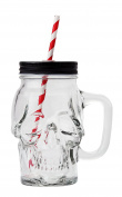 Novelty Glass Skull Face Drinking Mug Mason Jar with Glass Handles 530ml with Lid and Straw