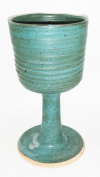 Aunt Chris' Pottery - Hand Made Clay - Ample Celtic Goblet/Chalice - Ivy Green Glazed - Beautiful to Display and Marvellous to Use - Food, Microwave, Oven And Dishwasher Safe