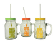 The Everyday Essential Home Smoothie Mason Jar Tumbler Mugs With Handles, Lids, and Reusable Straws, Set of 3, Multi-Colour Tops, (16.9 fluid ounces/500 ml) by Whole House Worlds