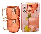 The Boho Street Moscow Mule Handcrafted 100% Pure Copper Mugs Brass Handles Set of 2 Solid Copper Hammered Mugs 470ml