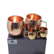STREET CRAFT Gift Packed Handcrafted 100% Pure Copper Authentic Solid Copper Unlined Mug /Cup Capacity-470ml Cups with Led-free Handle Smooth Finish Set of 2 with Free Set of 2 Short Mug.