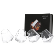 Diamond Shape Tilting Whisky Liquor Snifter (300ml), Scotch Rocking Tumbler Glasses, Set of 4
