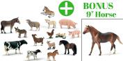 Farm Animals Toys Small Plastic 10 Pack Bonus 15cm Jumbo Horse