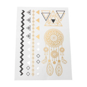 Metallic Tattoos in gold and black, temporary for the skin, Motif 04