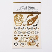 Metallic Tattoos in gold,silver and black temporary for the skin, Motif 31