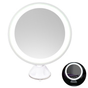 LED Makeup Mirror 7X Magnifying Lighted Illuminated Cosmetic Mirror 360° Rotation Adjustable Suction Mounted Shaving Mirror Tabletop Bathroom Mirror