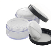 10ml Empty Portable Powder Container Holder Powder Cake Box Dressing Case Makeup Box Case with Powder Puff Great for Loose Powder Blusher--Screw Cap Seal