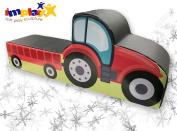 Implay® Soft Play Children's Tractor Ride-On Soft Play Activity Toy - 550gsm PVC / High Density Foam - Red & Black Digital Design - 100cm x 25cm x 40cm