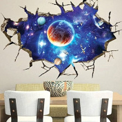 Paleo 3D Outer Space Wall Stickers Home Decor Mural Art Removable Galaxy Wall Decals