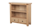 Devon Solid Oak Low Wide Bookcase with 2 Drawers / Natural Oak Lacquer Low Wide Bookcase / Living Room Furniture / Hallway Furniture / Dining Room Furniture / Bedroom Furniture