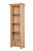 Devon Solid Oak Tall Narrow Bookcase with 1 Drawer / Natural Oak Lacquer Tall Bookcase / Living Room Furniture / Hallway Furniture / Dining Room Furniture / Bedroom Furniture