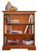 Low wooden bookcase with adjustable shelves