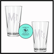 Harry Potter Mr. & Mrs. Etched Drinking Glass Set of TWO - By Brindle S. Designs - HP Wedding Gift Pint Glass Set