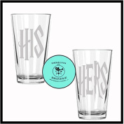 Harry Potter His & Hers Etched Drinking Glass Set of TWO - By Brindle S. Designs - Pint Glass Set