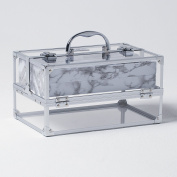 Beautify Professional Large Lockable Acrylic Vanity Make Up Beauty Storage Case with Chrome Frame & Marble Effect Interior