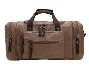 Zatous Oversized Canvas Travel Duffel Bag with Big Capacity Weekend Bag Coffee