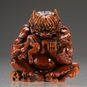 Capsule Q Museum Takeya workshop humbly made spectre Netsuke 2 [ three-dimensional view pandemonium ] wood carving style coloured demon single item