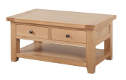Devon Solid Oak 2 Drawer Coffee Table / Natural Oak Lacquer Living Room Table / Living Room Furniture