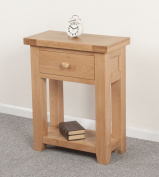 Devon Solid Oak 1 Drawer Console Table / Natural Oak Lacquer Console Table / Living Room Furniture / Hallway Furniture / Dining Room Furniture