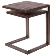 indhouse Nesting Table Loft with Industrial Style Vintage Iron and Wood Rome