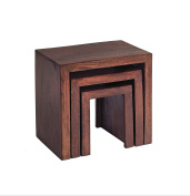 Texas Dark Mango Wild Style Light Hardwood Nest of Tables - 3 Pieces