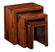 Cuba Rich Honey Indian Hardwood Range Nest of 3 Tables