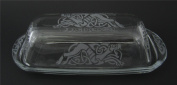 Hand Etched Permanently Sandblasted (Sand Carved) Glass Celtic Dragon Butter Dish Serving Tray Handmade USA