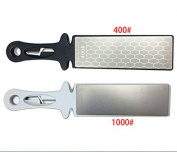 Vzer Double Side Diamond Ceramic Knife Sharpening Stone Whetstone DMD 400/1000 with Handle