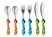 Exzact Stainless Steel 6 PCS Childrens Cutlery Set - 2 x Forks, 2 x Safe dinnerknife, 2 x Dinner Spoons