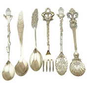 Yalulu 6 Pcs/Set Alloy Vintage Royal Style Bronze Small Coffee Tea Spoon Fruit Kitchen Dining Bar Tools
