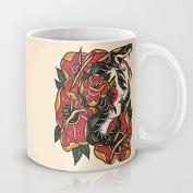 Woman with Snake Ceramic Teacup Coffee Mug, 330ml Unique Christmas Present for Men & Women, Him or Her