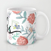 Mrs Calligraphy Watercolour Floral Ceramic Teacup Coffee Mug, 330ml Unique Christmas Present for Men & Women, Him or Her